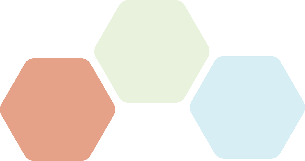 Group of 3 semi transparent colored hexes